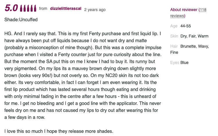 Review for Fenty Beauty lip paint